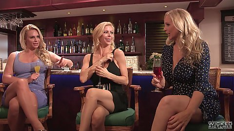 Alexis Fawx and her friend in story based milf conversation at the bar and couples make out