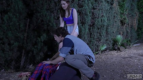 Couples outdoors sneaking around in clothes witih Abella Danger in story based couple staying one step ahead