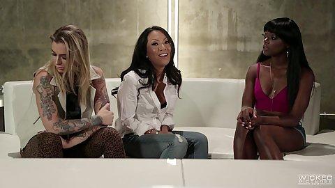 Three black white asian girls in hotel lobby feeling frisky today Kleio Valentien and Ana Foxxx and Asa Akira