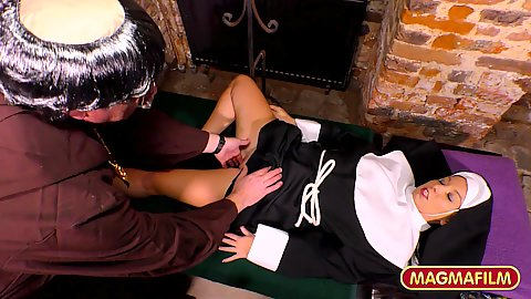 Priest and half clothed nun gets fingered probed from a horny monk today and fucked from behind