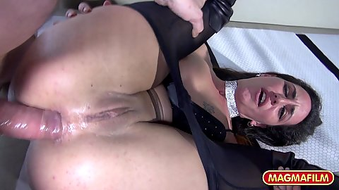 Anal pulled down nylon pantyhose pounding of a brunette whore Teresa Dumore