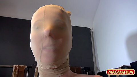 Nylon fetish and pantyhose wrapping on head with Luci Angel getting pussy fucked while all in nylon
