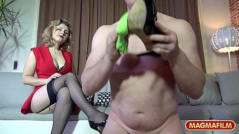 Olga Love has a shoe sniffer today that will polish her heels and sniff her feet then she gets on his balls with her heels in ball busting handjob