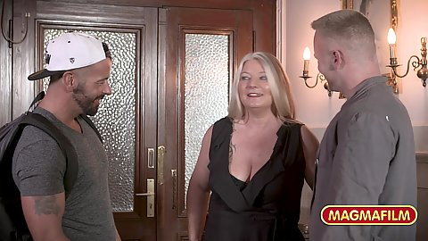 German cleavage showing aged milf gets a bit of a good groping from two college exchange American man staying in her place