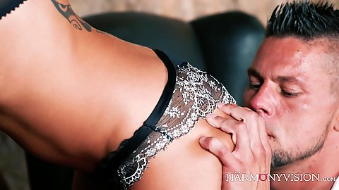 Cassie Del Isla getting her butt worshiped a bit in an erotic stting with man pre licking her and rear drilling