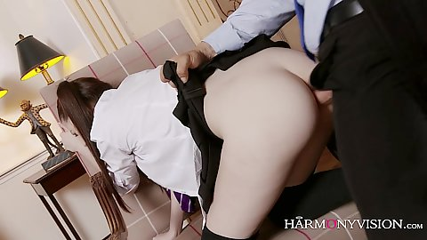Ramming a foxy school girl half clothoed with no panties on by the headmasters perverted penis Rebecca Volpetti