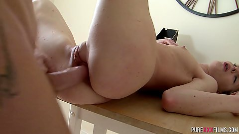 Sliding cock into that blonde flat chested stepsister on her homework table Bianka Brill with legs way up and feeling quite orgamic