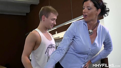 Clothed milf and boy want to make a new deal with German brunette Dacada