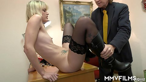 Old age perverted car salesman attempting to convince flat chested blonde Sina Longleg that sex with him will get her a good deal