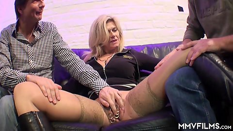 Big boobed milf Maria Montana has 25 piercings on her pussy she sucks and fucks two dicks