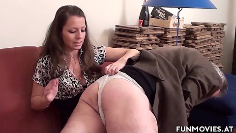 Spanking your man and then chaining him to the wall with dominating femdom Larissa Gold