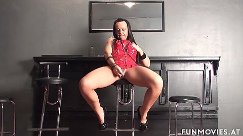 Lingerie girl fucks some fingers on a stool with Candy Cox showing a bit of a kinky side
