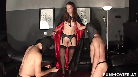 Devil owning her males Larissa Gold shows these man slaves what loving her is all about
