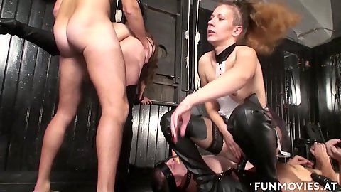Small tits girls fuck men with mouth dildos as if they were stationary slaves Jana Puff and Larissa Gold