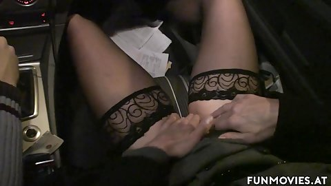 Drying around with Marga and Romana and she takes charge of her pussy masturbating while on the highway