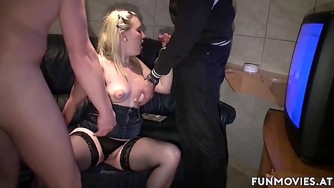 Mausibutz boobs squeezed and then fuck in the new set of lingerie she just got at the sex store