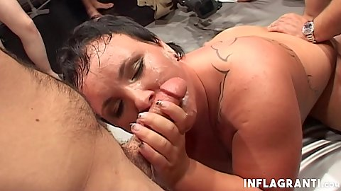 Sucking a penis bbw Anna while men come up to her fuck ehr and cum on her face and pussy in gang bang