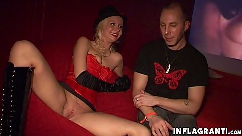 Jin Taylor and Laureen Pink at the party with us spread legs and sits with her pussy out in the open while talking to man