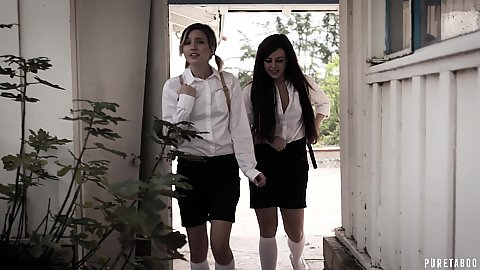 Eliza Jane and Whitney Wright looking for an abandoned house the found in the school girl uniform looking to do something devious