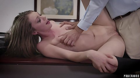 Tiny titted stepdaughter has her boobies hard squeezed by stepdad Elena Koshka while fucking his on his desk at work