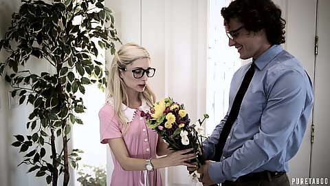 Blondie nerd likes theflowers and wears a very shy dress then makes out with her sensual friend Piper Perri