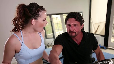 Alison Rey requires some discipline from her trainer a much older man for her tight body