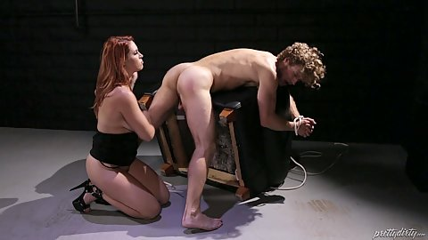 Curvy redhead about to toss this man slaves ass out during interrogation where she fucks him Edyn Blair
