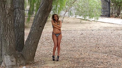 Outdoors by the trees Alexis Adams tries to blend in with natural as a bras and panties babe teasing us