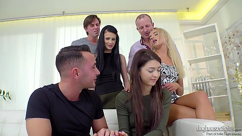 Swingers orgy starting up lets get those girls swapped and begin the process with Tera Link and Nicole Love and Victoria Pure