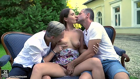 Threesome brunette getting courted by two very ambitious males droppig down for a deep suck with Ellen Betsy