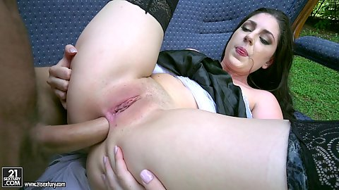 Innie vagina anal filling brunette pale skinned a bit sunburnt small chested maid Miranda Miller on the chair outdoors