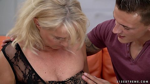 Helping blond egranny with medium sized chest Jana Nelle finally get out of her clothes so young man can have nasty fun with her