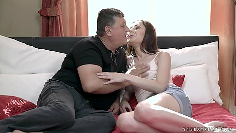 Brunette college girl with old man in bed they so tenderly kiss and he fingers her young puss Linda Love