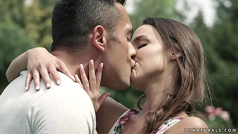 Intimate kissing with petite teen in a garden Amirah Adara fiding a place in the back to suck large cock