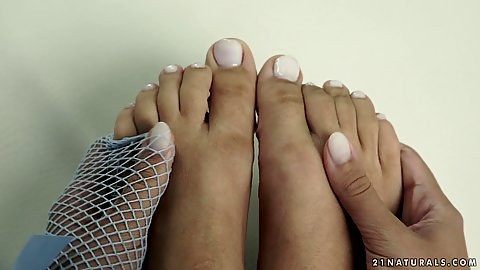 Lovely girl loves her feet they are simply mesmerizing and her pedicure is immaculate Shona River