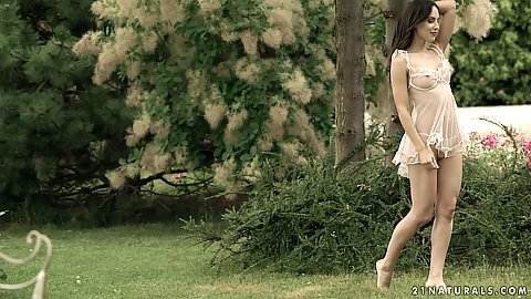 Lingerie walking barefoot on the grass with super flower brunette Lilu Moon getting loved
