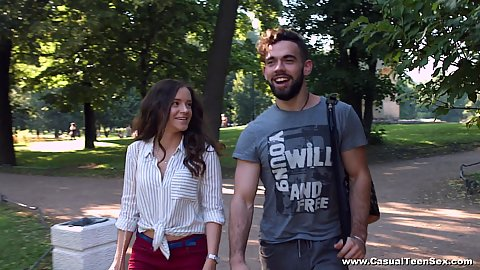 Walking in the park and enjoying a nice romantic day with Mickey Moor getting down to kissing and stripping with complete stranger