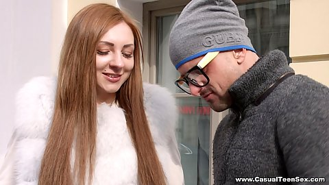 Smiling cutie public teen picked up and take home for first date Veronika Fare
