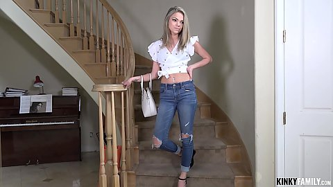 Wearing ripped jeans 18 year old cutie step sis with belly button Athena Faris strips naked and kneels to deep throat penis in pov