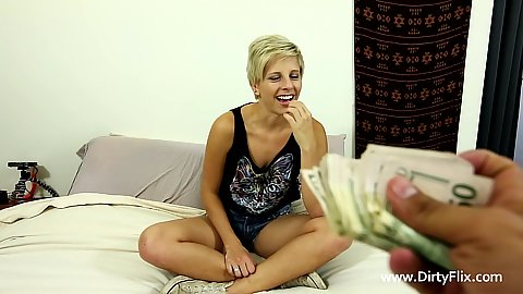 Giving first time audition teen Makenna Blue some money to get naked and suck a cock in pov