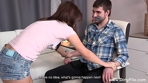 Brunete Leana wants to tape her bf to a chair and then make out with another man in cuckld