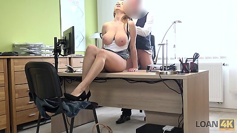 Large juggs Suzie here to get a loan we get her naked touch her hanging down boobs and nail her