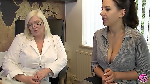 Lacey Starr has cleavage showing milf Tindra Frost visiting sex therapist with lesbian tendencies