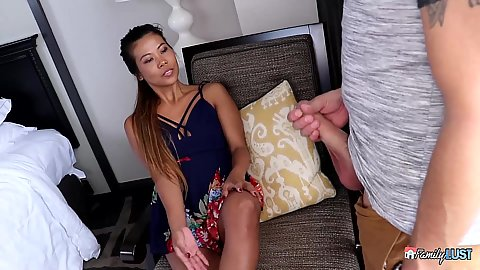 Asian stepsister Channel Lee looks at stepbrothers cock and wants to suck it right here and now with standing fuck by the window