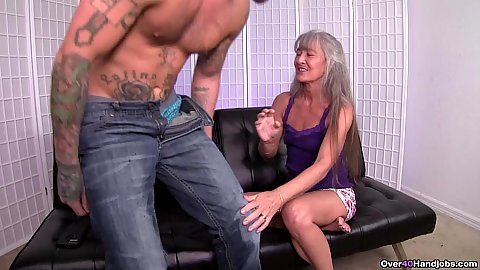 Slim granny with gray hair Leilani Lei lays down her young man for a jerk off