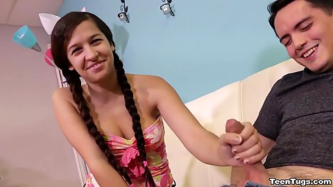 Smiling little stepsister Annika Eve jerking off her stepbrother that wont pay any attention to her