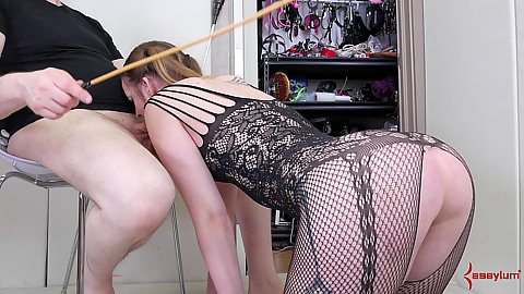 Bodystocking with open crotch painful deep throat with licking out mans anus Jessica Kay goes to the closet to find somethign else to get punishment from