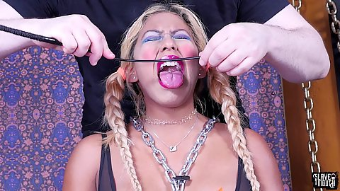 Tongue torture and painful punishment with Desiree Lopez crying while being submissive and taking tongue caning like a pro