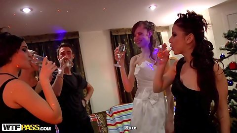 Tracy with Kitana A Demida and Chloe Blue with Netta Jade fucking partying at their college dorm new years house party