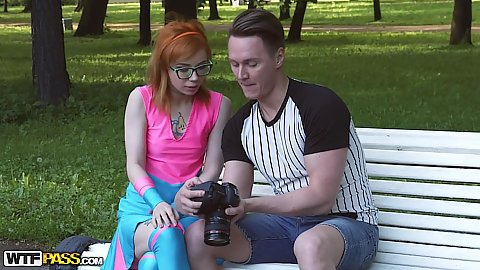 Spunky looking redhead Xenia likes to dress like a super hero and met men in parks